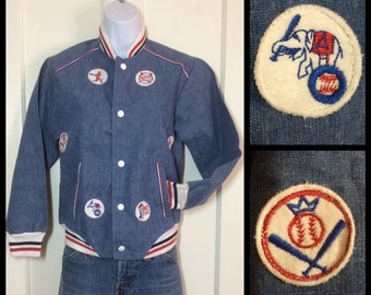 Vintage 1970's New York Mets Baseball Chambray Denim Jacket looks size XSmall
