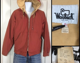 Woolrich 60/40 short Mountain Parka Jacket Coat size Medium Rust color 6040 cotton nylon soft chamois cloth lining orange red hoodie