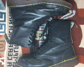 1990s Dr. Doc Martens 10 eye black Leather steel toe Air Wair Bouncing Soles boots Men's size 7 made in England