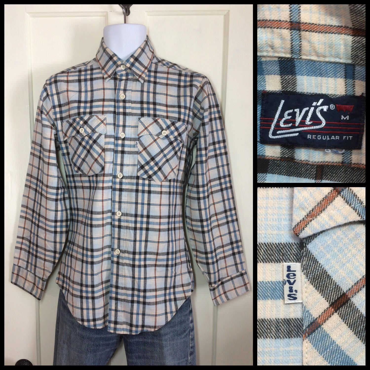 1970 39 s levi 39 s light blue brown black plaid flannel shirt for Brown and black plaid shirt