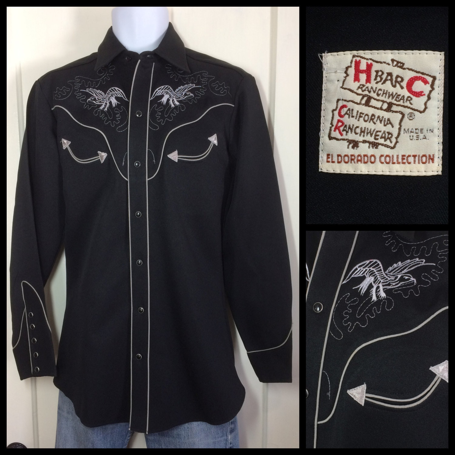 Black H Bar C El Dorado with black snaps, white embroidered eagles and gray piping