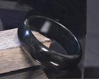 California Black Nephrite Jade Bangle - 57.25 mm