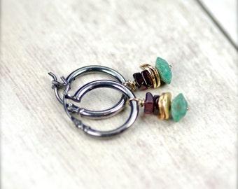 Turquoise and Garnet Gemstone Earrings Oxidized Sterling Silver.  Simple Hoops and Gemstones.  Simple Hoop Earrings