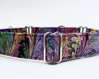 Martingale Dog Collar,,,Pink Monet,,,pink and purple colorful swirls, Martingale Dog Collar in 1.5 inch or 2 inch width