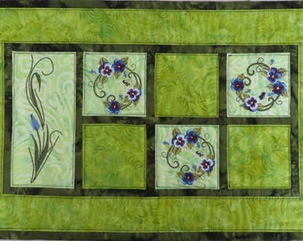 Spring Floral Quilted Embroidered Placemats in greens blues