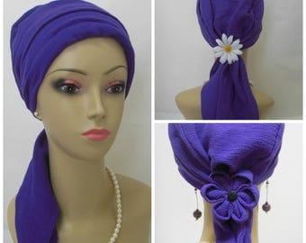 Deep Royal Purple Gauze Turban, Volumizeer Chemo Headwear, Cancer Patient Hat, Alopecia hair Cover, Tichel Mitpachet head Wrap, Beach Scarf