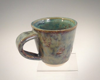 Handmade Ceramic Mug - Wheel Thrown Stoneware, Clay, Pottery - Food Safe - Blue, Green, Brown - One of a Kind - Coffee Cup - Tea Cup