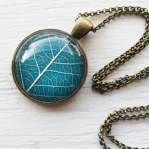 Real Botanical Jewelry - Teal and Antique Brass Leaf Necklace