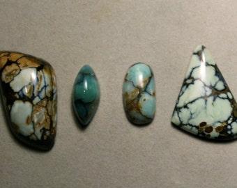 U- Pick - 7 Dwarfs turquoise Cabochon Set for jewelry making pendant, natural stone, ring stone, variscite, variquiose, like new lander