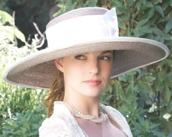 Wedding Hat, Wide Brim Hat, Ascot hat, Gray Taupe Hat. Church Hat, Ivory Hat, Derby Hat Formal Hat, Tea Party Hat Ascot Hat Garden Party Hat