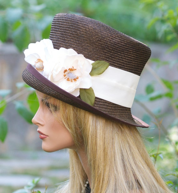 Kentucky Derby Hat, Wedding Hat, Women's Brown Straw Hat, Formal Hat, Women's Spring Hat, Summer Hat, Church Hat, Dressy Hat, Race Hat