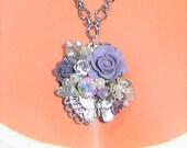 Pretty Little Mini Assemblage Necklace in Purple,Silver, w/earrings