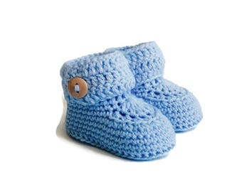 Blue Crochet Baby Booties Merino Wool Newborn Crib Shoes Baby Slippers Knitted Baby Booties Boy Baby Shoes Baby Gift by Warm and Woolly Etsy
