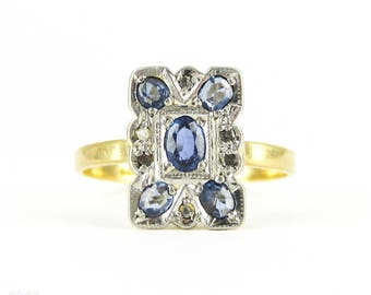 Vintage Sapphire & Diamond Panel Ring, Art Deco Oval Cut Sapphire Rectangular Dress Ring. Circa 1930s, 18ct and Plat.