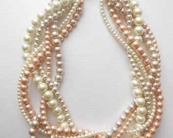 Bridesmaid pearl necklaces Gold Champagne and ivory braided twisted chunky statement pearl necklace bridal
