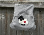 Upcycled Merino Wool Soaker Cover Diaper Cover With Added Doubler Gray With Baa Baa Sheep Applique LARGE 12-24M