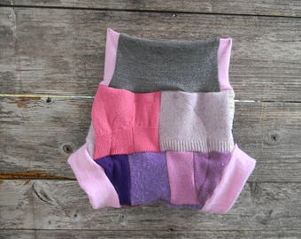 Upcycled Wool Soaker Cover Diaper Cover With Added Doubler Girly Patchwork Scrappy LARGE 12-24M Kidsgogreen