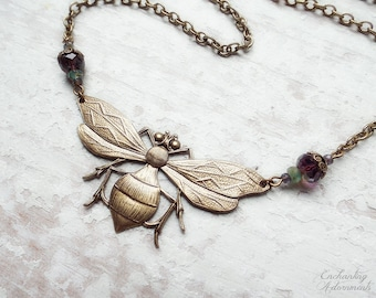 FANTASIA .:. Vintage Bee Aged Brass Fantasy Necklace with picasso czech glass