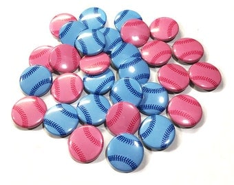 "Pink or Blue Baseball, 1"", 1.5"", 2.25"", Pinback Button, Baseball Gender Reveal, Team Pink, Team Blue, Pregnancy Reveal, Baseball Baby Shower"