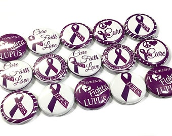 "Lupus Awareness, 1"" Button, Lupus Awareness Pin, Lupus Button, Lupus Pin, Purple Ribbon Pin, Lupus Badge, Purple Pin, Lupus Pinback, Lupus"