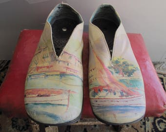 Camper Twins Painted Shoes Handmade In Spain Impressionist Painting On Leather Shoes Flat Slip-On US Size 8 ~ Euro Size 38