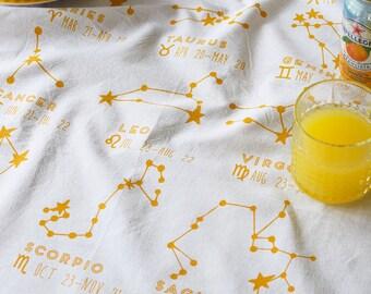 Tea Towel - Tea Towels Flour Sack - Organic Cotton - Kitchen Towels - Dish Towels - Screen Printed Tea Towels - Horoscope - Constellation
