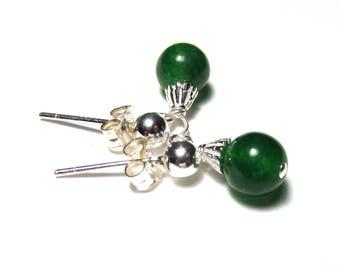 Natural Emerald, little post dangle earrings, set in Sterling silver