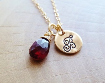 Personalized Initial Birthstone Necklace. Any 1 birthstone. Gold or Silver. Garnet. January birthstone. Capricorn. Zodiac jewelry birthstone