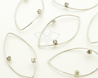 AC-612-OR / 4 Pcs - Thin Wire Drop Pendant, Marquis Hoops, Rhinestone Oval Drop, Silver Plated over Brass / 15mm x 28mm