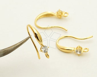 EA-216-GD / 4 Pcs - New CZ Simple Wave Hook Ear Wires, Single Cubic Stone Ear Hooks, 16k Gold Plated over Brass / 16.5mm