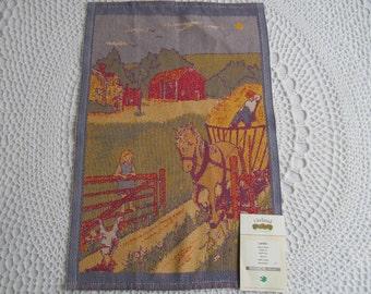 Vintage New Ekelund Kitchen Towel Linens Master Weavers Rainbow Collection Sweden 100% Cotton Farm Horse Barn