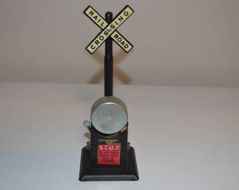 Vintage train crossing signal Mar Lines model railroad railway track bell - train accessory