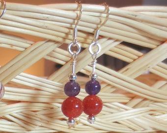 Purple and Orange Earrings, Clemson Colors Dangle Earrings, Amethyst/Carnelian/Silver Earrings, Gemstone Earrings, Clemson Earrings