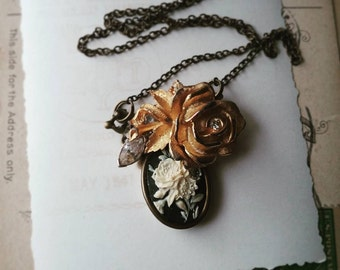 Vintage Cameo Necklace, Flower Collage Pendant, Gold and Rhinestone Assemblage Necklace, Boho Chic Jewelry for Women