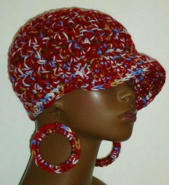 Sale Assorted Patterns Chunky Crochet Baseball Cap Hat With Earrings