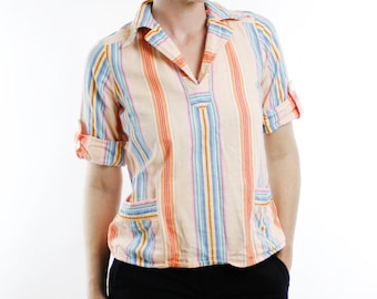 Vintage 70's Contempo Casuals peach striped beach style shirt, colorful stripes, 1/2 length sleeves, v-neck with collar - Small / Medium