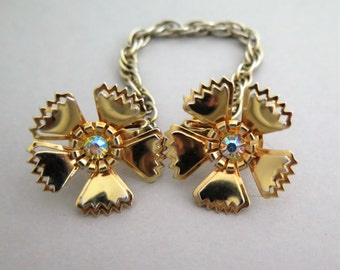 Vintage Borealis Rhinestone Flower Sweater Clip Guard Gold Tone