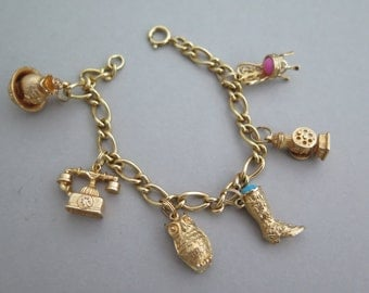 Vintage Gold Tone AVON Charm Bracelet Chair Owl Phone Boot Pitcher, etc.