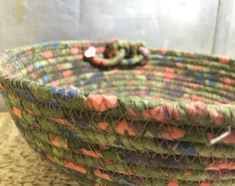 Green Batik Cotton Pottery Fabric Coiled Bowl