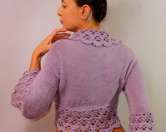 Lilac Wedding Bolero, Bridal Shrug, Knit Bolero, Crochet Shrug, Lavander Bridal Bolero Jacket, Cover Up, Wedding Shrug, Cardigan / SALE