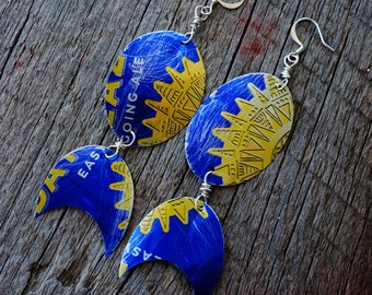 Upcycled Recycled Jewelry, Aluminum Can Earrings, New Mexico Style, Southwestern Style, Rustic Jewelry