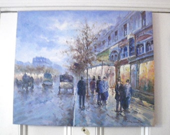 "Paris Street Scene Impressionist Style Painting - R. Millano - 20"" x 24"" - 20th century"