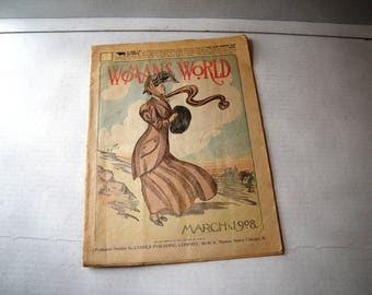 Woman's World March 1908 U.S. Serial Fiction by Women Authors Mrs. E. Burke Collins Jane G. Austin