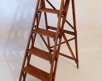 Antique Vintage Latticed Stepladder / Library Steps - Wood Wooden