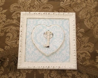 Shabby Romantic home, key to Heart Wall decor,  assemblage, creamy white, blue and white damask