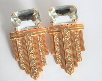 Vintage crystal and gold earrings. Clip on earrings. Big earrings.  Art Deco style earrings