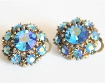 Vintage earrings. Carnival glass earrings. Clip on earrings. Vintage jewellery