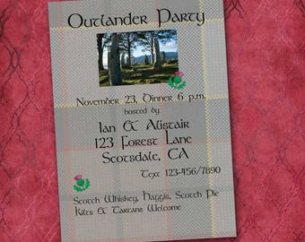 Outlander Party Invitation, DIY Printable, Custom Made, Viewing Party, Costume Party, Scottish Whiskey, Fraser Tartan, Craigh Na Dun, Claire
