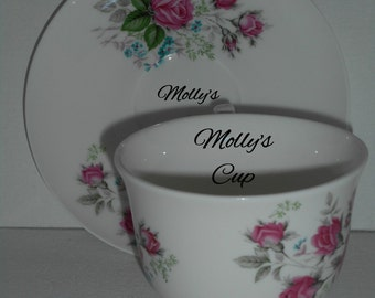 Personalised Vintage Floral Style, Boxed Fine Bone China Teacup and Saucer, Pink Dubarry Rose Design