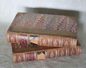 Junius by John Wade Vol. 1 and Vol. 2 Antique Leather Bound Books 1850